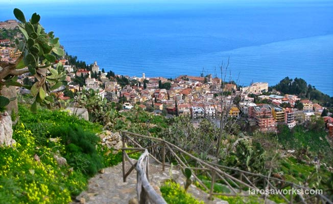 Enroute via the old Saracen path to the picturesque hillside Sicilian town of Taormina.